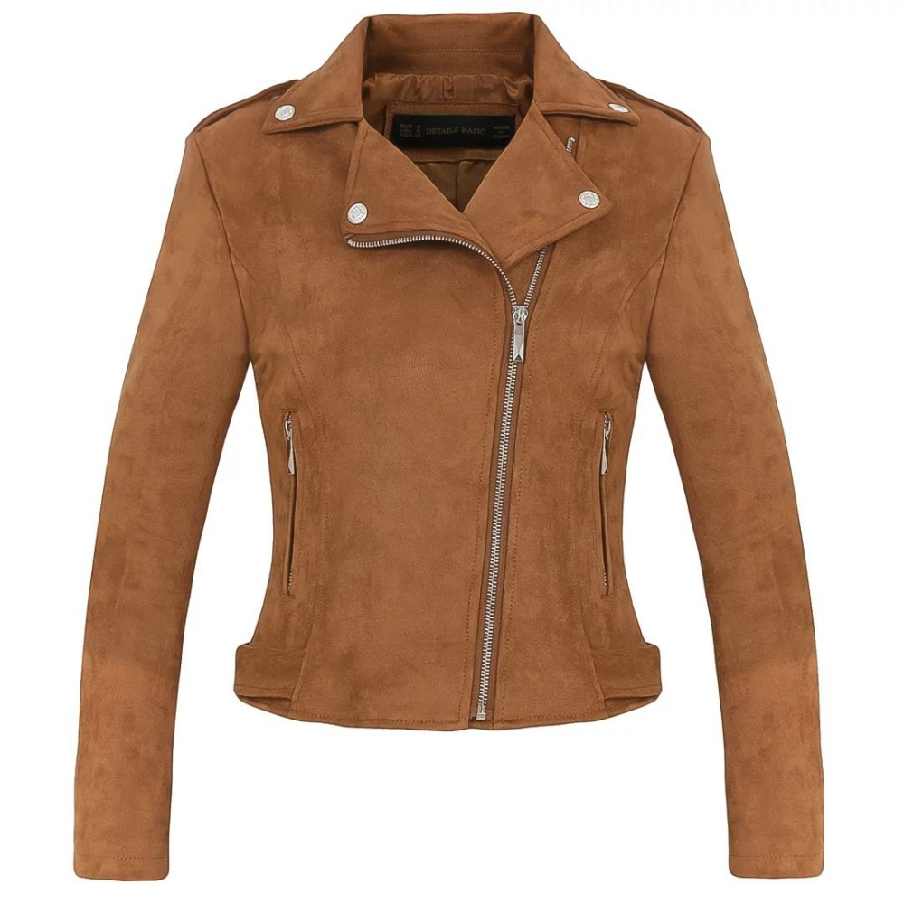 steelsir Ladies Brown/Grey Faux Suede Leather Jacket Women Zipper Coats Female Fashion Warm Moto Motorcycle Biker Bomber Jackets