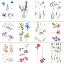 WYUEN 12 PCS/lot Flower Temporary Tattoo Sticker for Women Men Fake Tatoo Body Art Adult Waterproof Hand Stcikers 9.8X6cm W12-04