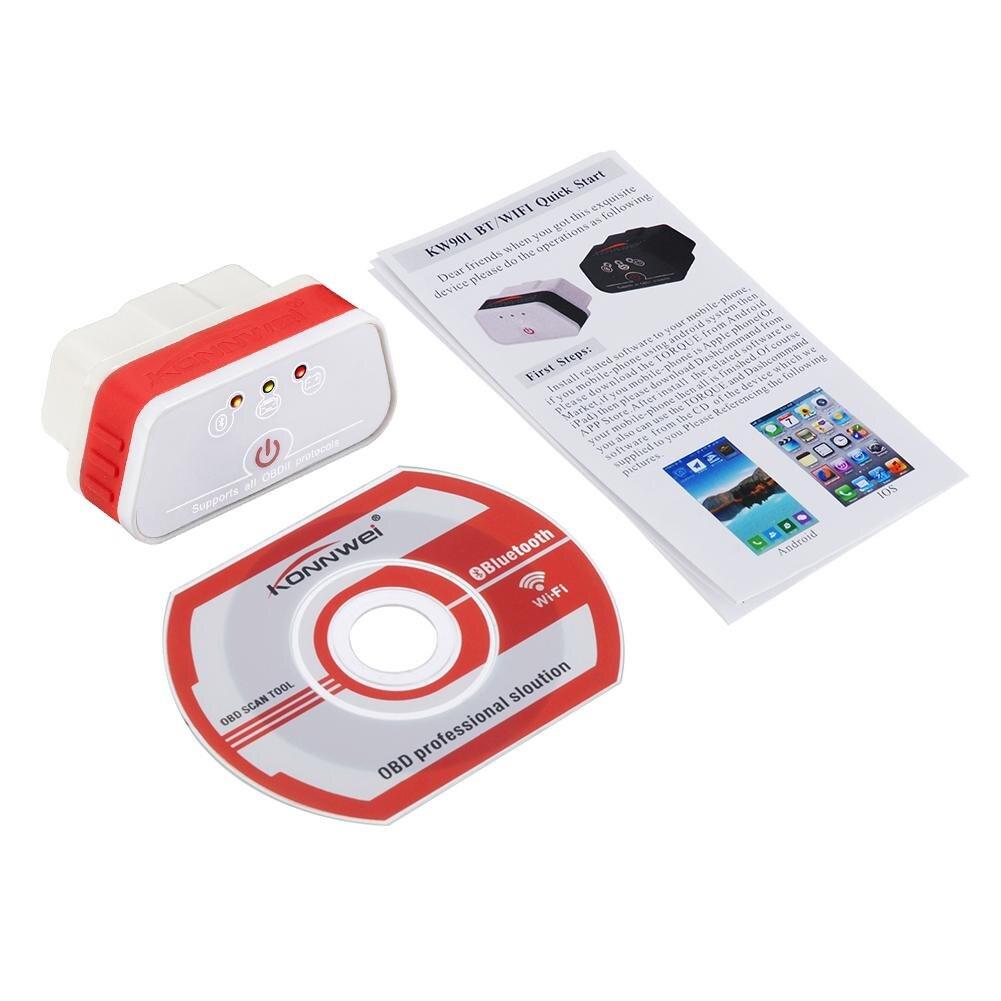 Подробная информация о KW901 ELM327 Bluetooth 3,0 OBD2 OBDII автоматический код ошибки чтения диагностический сканер инструмент