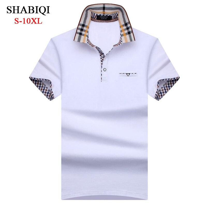SHABIQI Novos Homens Da Marca camisa Polo Dos Homens Camisa Dos Homens de Manga Curta Camisa Polo Lapela Bolso da Camisa Polo Plus Size 6XL 7XL 8XL 9XL 10XL