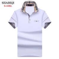 SHABIQI nueva marca hombres camisa hombres Polo hombres manga corta Polos camisa solapa bolsillo Polo talla grande 6XL 7XL 8XL 9XL 10XL
