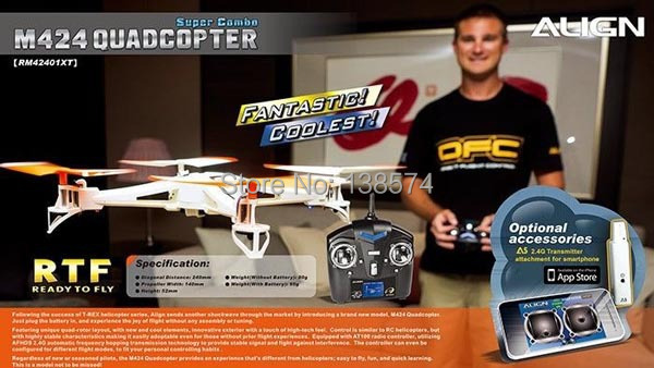 ALIGN M424 Quadcopter Drone Super Combo RTF 2.4GHz RM42401XW support Iphone system