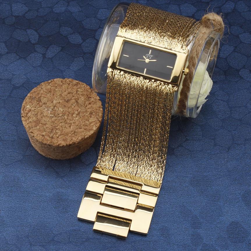 Moda feminina superior vestido de luxo pulseira relógio de pulso retângulo caso ampla borla aço corrente cinta senhoras ouro quartzo relógios