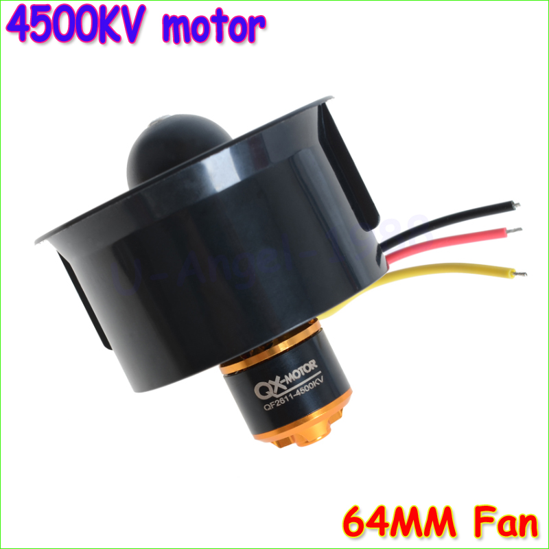 Newest 64mm Ducted Fan 5 Blades + 4500KV 320W Brushless Motor Model Airplane Fan+free shipping 64mm duct fan 4800kv brushless motor