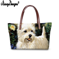 NOISYDESIGNS Luxury Leather Handbags Bolsa Feminina Oil Yorkie Dog Printing Large Capacity Women Tote Bag Ladies Messenger Bag