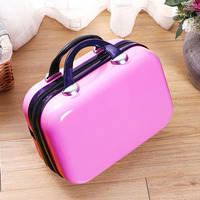 Women Bag Logo Custom Fashion Light Suitcase 14 Inches Lady ABS Cosmetic Bag Suitcase for Makeup Bags Customized with Own Logo