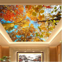 photo wallpaper Custom mural Autumn leaves nature landscape sun background wall paper ceiling 3d mural painting modern