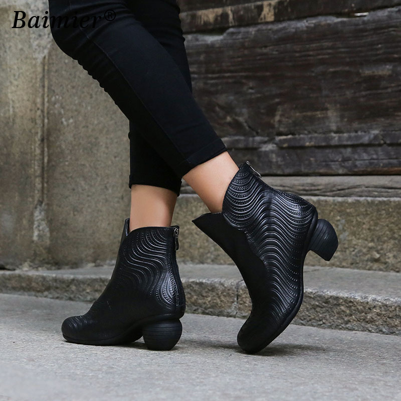 New European Style Fashion Women Boots Round Toe Mid Heels Genuine Leather Shoes Autumn Winter Woman Martin Boots Ankle Black women martin boots 2017 autumn winter punk style shoes female genuine leather rivet retro black buckle motorcycle ankle booties