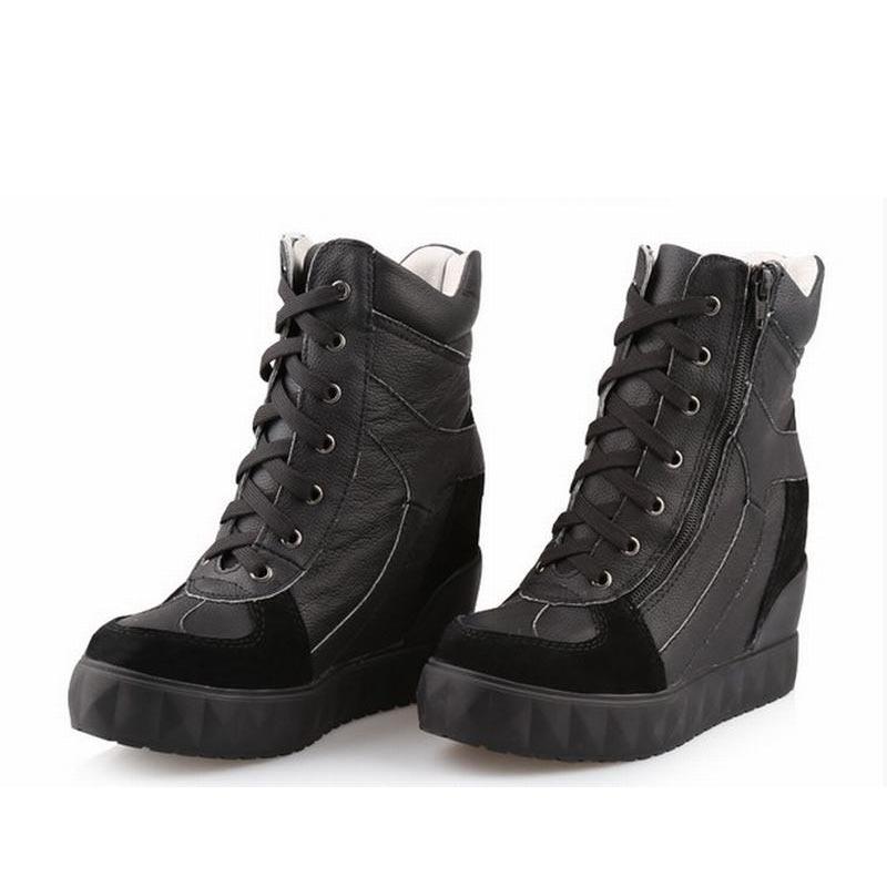 Genuine Leather Platform Wedge High heels Women Shoes Woman Casual Lace Up Zapatillas Deportivas Zapatos Mujer Tenis Feminino