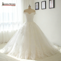 Off Shoulder Beautiful New Lace Wedding Dress Real Photos NS1378