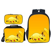 3pcs/set Hot Cute Cartoon Printing Pikachu Children Backpacks Kids Baby School Bags Pokemon Girls Suit Schoolbag Boys Bookbag