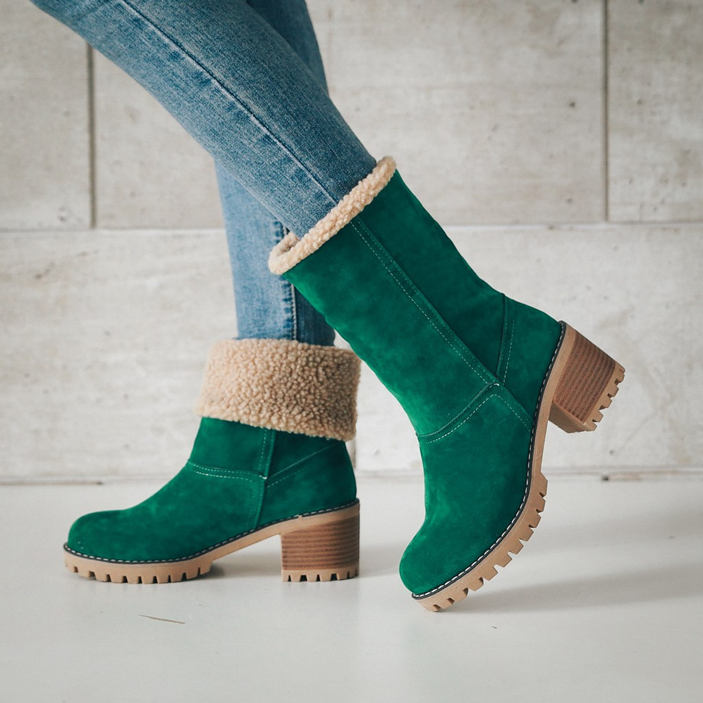 Brand Women Boots Female Winter Shoes Woman Fur Warm Snow Boots Fashion Square High Heels Ankle Boots Black Green Boots taima brand new arrival winter fashion women boots warm fur ankle snow boots black ladies style winter women shoes page 2