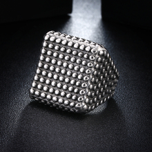 Vintage Big Simple Square Punk Ring Stainless Steel Black Finger Band Mens Rivet Rings