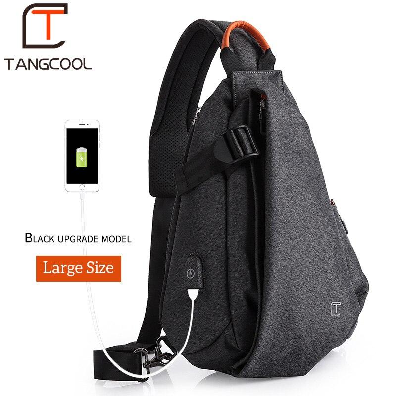 2b2e0fbf0 Tangcool Multifunction Crossbody Sacos de Moda Pacote Peito Dos Homens de  Carregamento USB Mensageiros Saco Curta