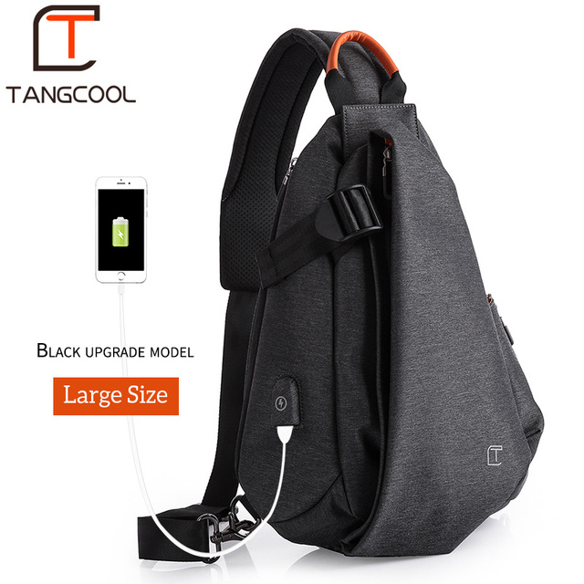 Tangcool Multifunction Fashion Crossbody Bags Men USB Charging Chest Pack Short Trip Messengers Bag Water Repellent Shoulder Bag