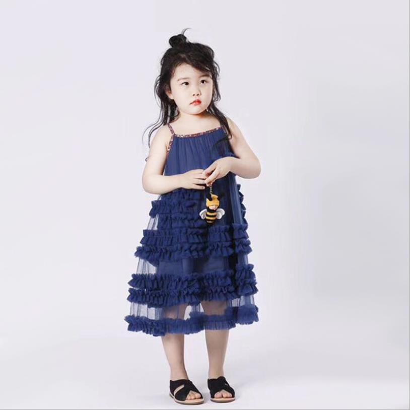 Bébé filles robe d'été nouveau style de l'europe fronde de mode robes de princesse pour enfants enfants mignon manches robe robe de soirée ws402