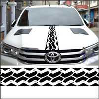Free Shipping Racing Flag Custom Off Road Tire Tracks Hood Vinyl Graphic For Toyota Hilux Revo