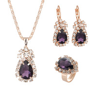 CBO74 Women's Jewelry Necklace Set Fashion Crystal Ring Necklace Earring Set