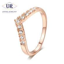 Top Quality V Lover Elegant Rose Gold Color Wedding Ring ITALINA Genuine Austrian Crystals Full Sizes Wholesale R011 R012(China)