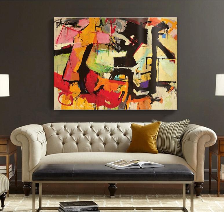 Rot gelb moderne abstrakte große größe handgemaltes ölgemälde ...