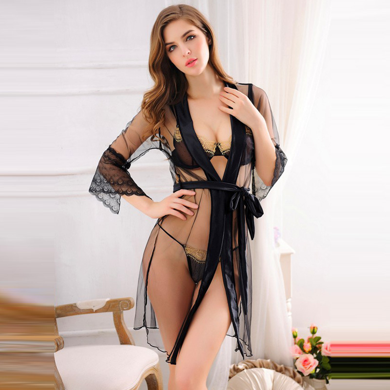 Black Kimono Set With Bra Tongs Sexy Erotic Lingerie Lace Transparent Robe Sex Babydoll Mesh Sheer Hot Nightgown Underwear Buy At The Price Of 11 35 In Aliexpress Com Imall Com