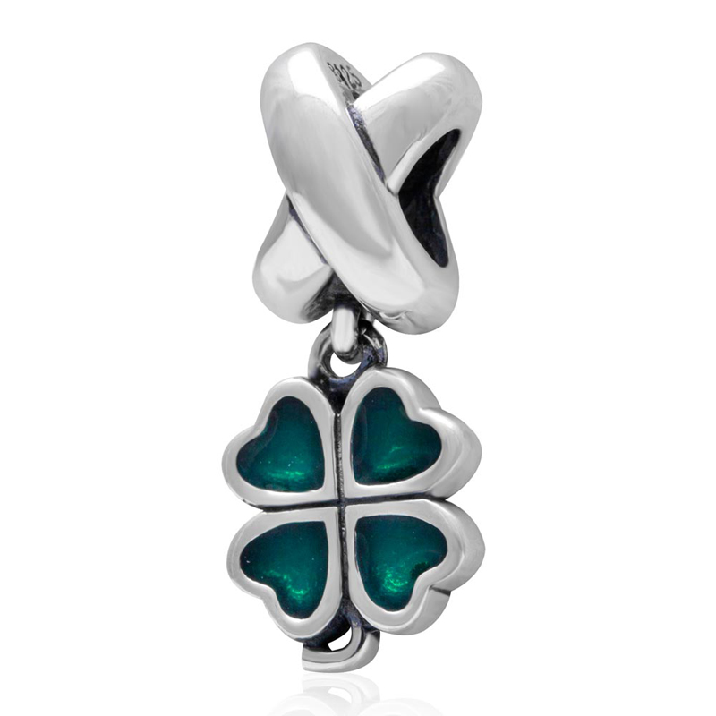 Four leaf clover pendant with cyan enamel Authentic 925 Sterling Silver charms fit for pandora charms bracelet wholesale