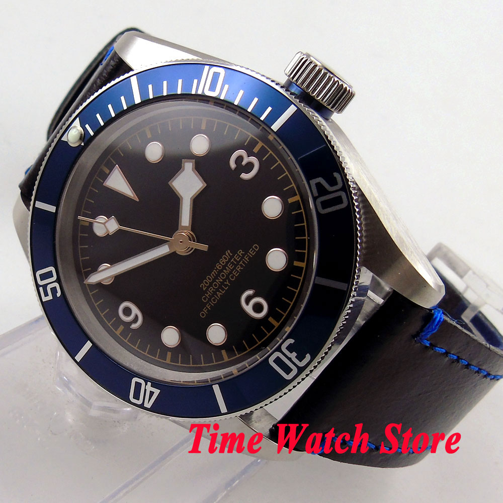 41mm Corgeut black sterial dial golden marks blue Bezel sapphire glass MIYOTA Automatic movement Men's watch cor71 polisehd 41mm corgeut black dial sapphire glass miyota automatic mens watch c102