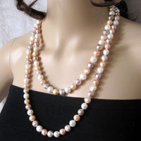 shipping 50 8 9mm MultiColor Freshwater Pearl Necklace White Pink Purple