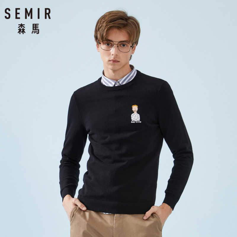 セミール男性微ニットセーターアップリケ男性のプルオーバーセーターリブクルーネックカフと裾ソフト綿ファッション春