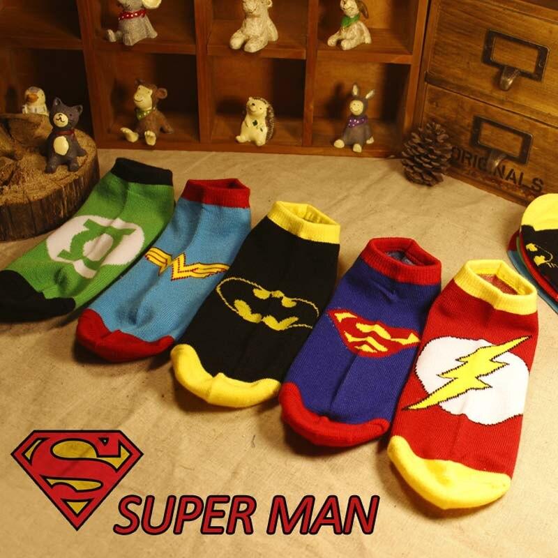 Marvel Comics Heroes General Socks Cartoon Superman Batman Boat Socks High Temperature Stitching Pattern Non-slip Casual Socks