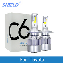 2 Pcs H7 H1 H4 LED Bulb For Toyota Corolla Camry Yaris Prius Kluger RAV4 Venza 8000lm 12V LED Car Headlight Auto Lamp 6000K цена 2017