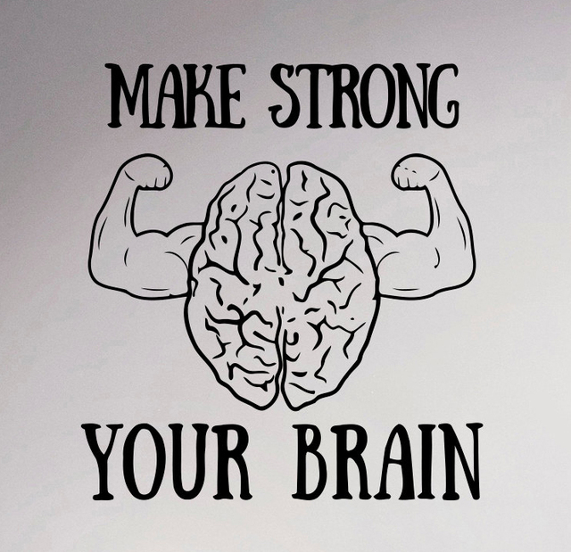 Motivation Quote Make Strong Your Brain Wall Decal Inspiration Vinyl  Sticker Sayings Home Interior Mural Graphics