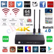 CSA93 Entièrement Chargé Amlogic S912 Android TV Box Octa core 2G/16G Android 6.0 TV Box WiFi BT4.0 H.265 4 K Meida lecteur + Keyaobard
