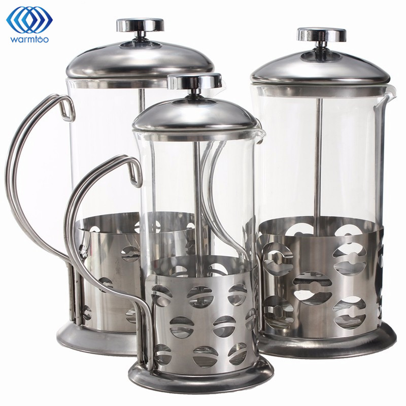 Manual Coffee Espresso Maker Pot Stainless Steel Glass Teapot Cafetiere French Coffee Tea Percolator Filter Press Plunger portable coffee maker manual coffee making machine coffee filter hand travelling french press pot 350 pcs metal filter paper