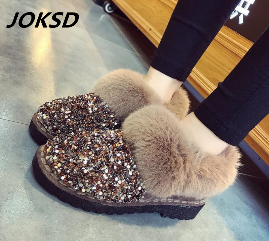 Joksd Women Winter Warm Boots Antiskid Outsole Lady Snow Boots Shiny Brand Fashion Style Easy Wear Hairy Ankle Boots Plus Q5