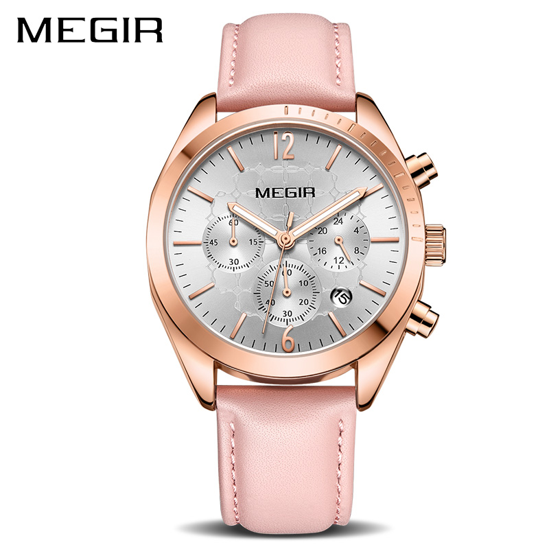 цена на Women Watches MEGIR Fashion Pink Leather Ladies Quartz Watch Women Clock Lovers Hour Relogio Feminino Montre Femme Reloj Mujer