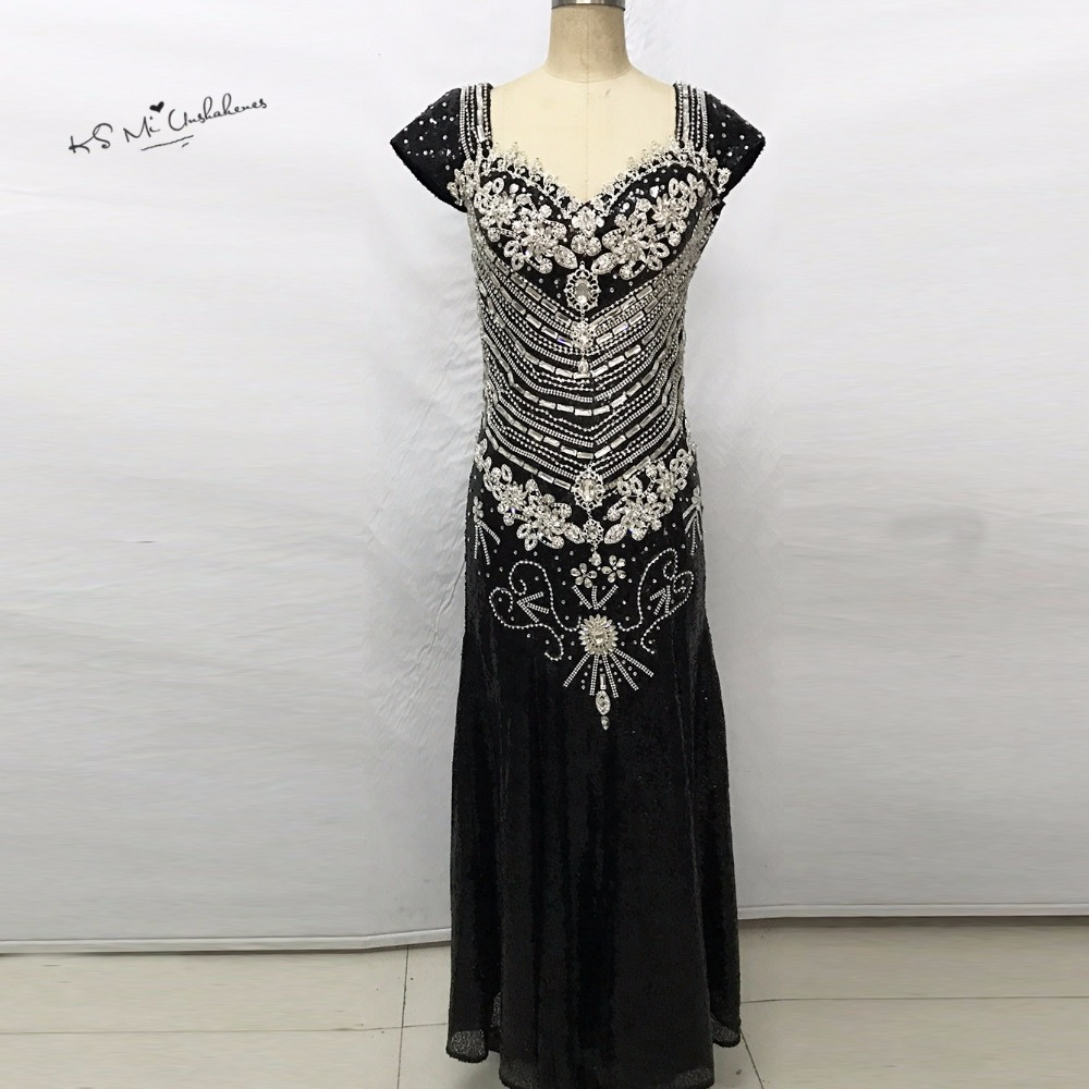 2017 Luxury Formal Black Rhinestone Evening Dress Dubai Abendkleider ...