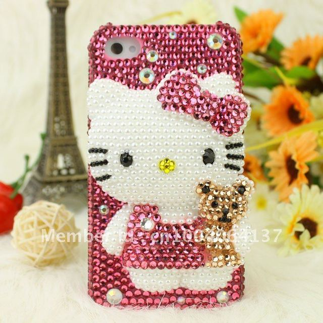 Rhinestone Crystal Diamond Hard phone Case Cover for iphone 5 5G,full pearl lovely fashion hello kitty cat bear/Free shipping