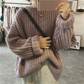 Korean Vintage Fashion Batwing Sleeve Sweaters Autumn Winter Casual Loose Pullovers Long Sleeve O-neck Knitted Sweater 41164
