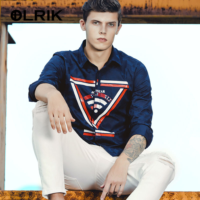 OLRIK 2017 Spring Brand New Men Shirt Long Sleeve Shirt M-5XL Men's Camisa Masculina Casual Slim Mens Dress Shirts Chemise Homme