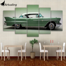 5 piece canvas painting vintage green car HD posters and prints for living room free shipping XA-1992C