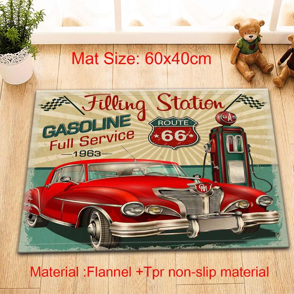 LB Filling Station Retro Poster Vintage  Route 66 Shower Curtains Bathroom Curtain Set Waterproof Fabric For Art Bathtub Decor