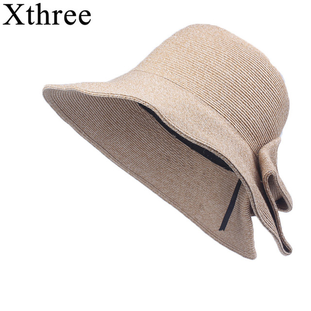 af8c2753cfe Xthree Good quality Girls Summer hat women Raffia straw cap Ladies Big brim  Sun hat hat for women beach hat