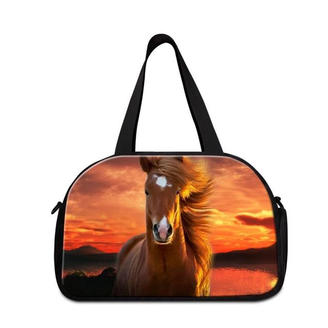 Dispalang padrão cavalo moda bagagem bolsa de viagem para adolescentes grandes sacos de duffle bag mulheres impressão animal grande sacola de viagem