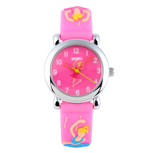 New SKMEI 3D Cartoon Cute Quartz Watch Gift for Children Kids Boys Girls Waterproof Football Barbie Soft Silicone Band 1047
