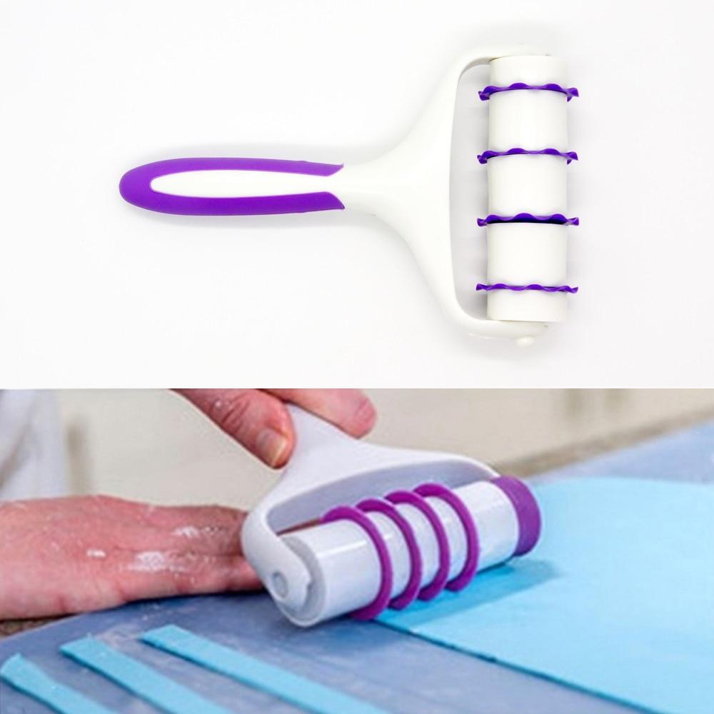 Plastic Fondant Strip Ribbon Cutter Embosser Roller Sugarcraft Cake Decorating Tools Set Baking Tool