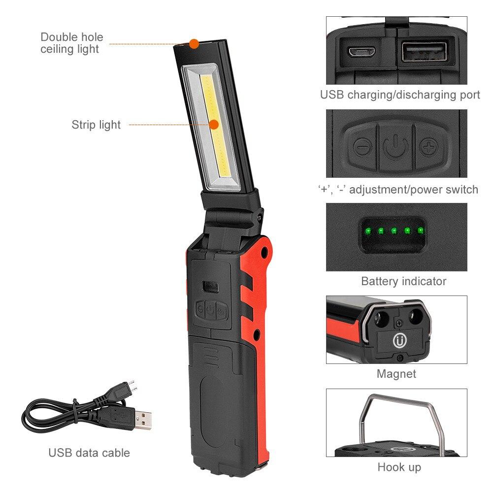 Multifuntion 1000 Lumen USB Rechargeable COB LED Slim Work Light Flashlight Lamp