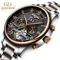 KINYUED Luxe Merk Horloge Mannen Skeleton Automatische Stempunk Flying Tourbillon Horloges Self Winding Mechanische Man Klok Rose Gold
