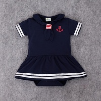 2017 Fashion Summer Newborn Rompers Navy Style Baby Romper Suit Kids Boys Girls Clothing Dress Infant