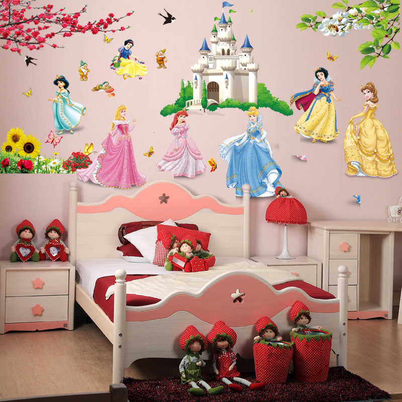 Castle Princess Decorative Wall Stickers For Kids Nursery Room Decorations Home Fairy Tale Cartoon Decor Mural Girls Gift Poster